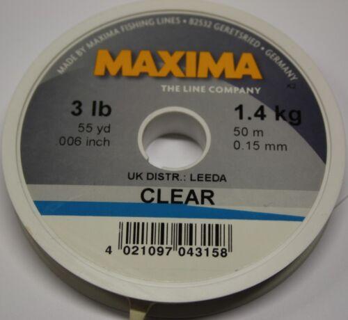 Maxima Clear 50 m ligne monofilament Toutes Tailles Gamme Complète grossiers à pêche