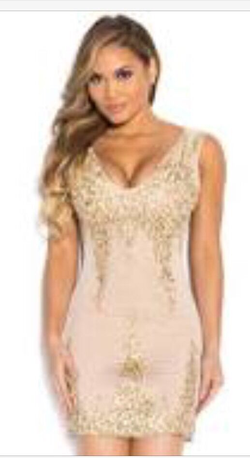 Holt Miami Dress Abee Nude In gold Dress NEw No Tags Size Medium