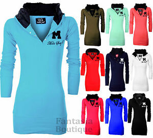 New-Ladies-Miss-Sexy-Plain-Cotton-Long-Sleeve-Womens-hooded-Jumper-Top-8-20