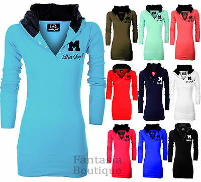 New Ladies Miss Sexy Plain Cotton Long Sleeve Womens hooded Jumper Top 8-20