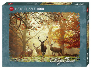 "NEW Heye Jigsaw Puzzle Game 1000 Pieces Tiles ""Magic Forests Stags"""