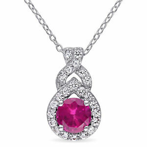 Amour-Sterling-Silver-Created-Ruby-and-Created-White-Sapphire-Halo-Drop-Necklace