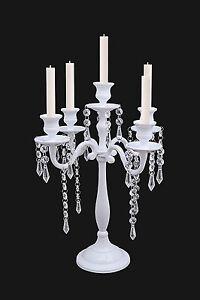 Image Is Loading 5 Arm White Crystal Candelabra Candle Holders Wedding