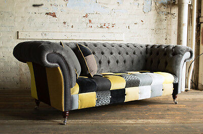 HANDMADE MODERN 3 SEATER GREY & YELLOW FABRIC PATCHWORK CHESTERFIELD SOFA