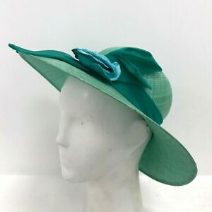 Peter Bettley Hat OS Wide Brim Ribbon Bow Style Green Formal Occasion 211539