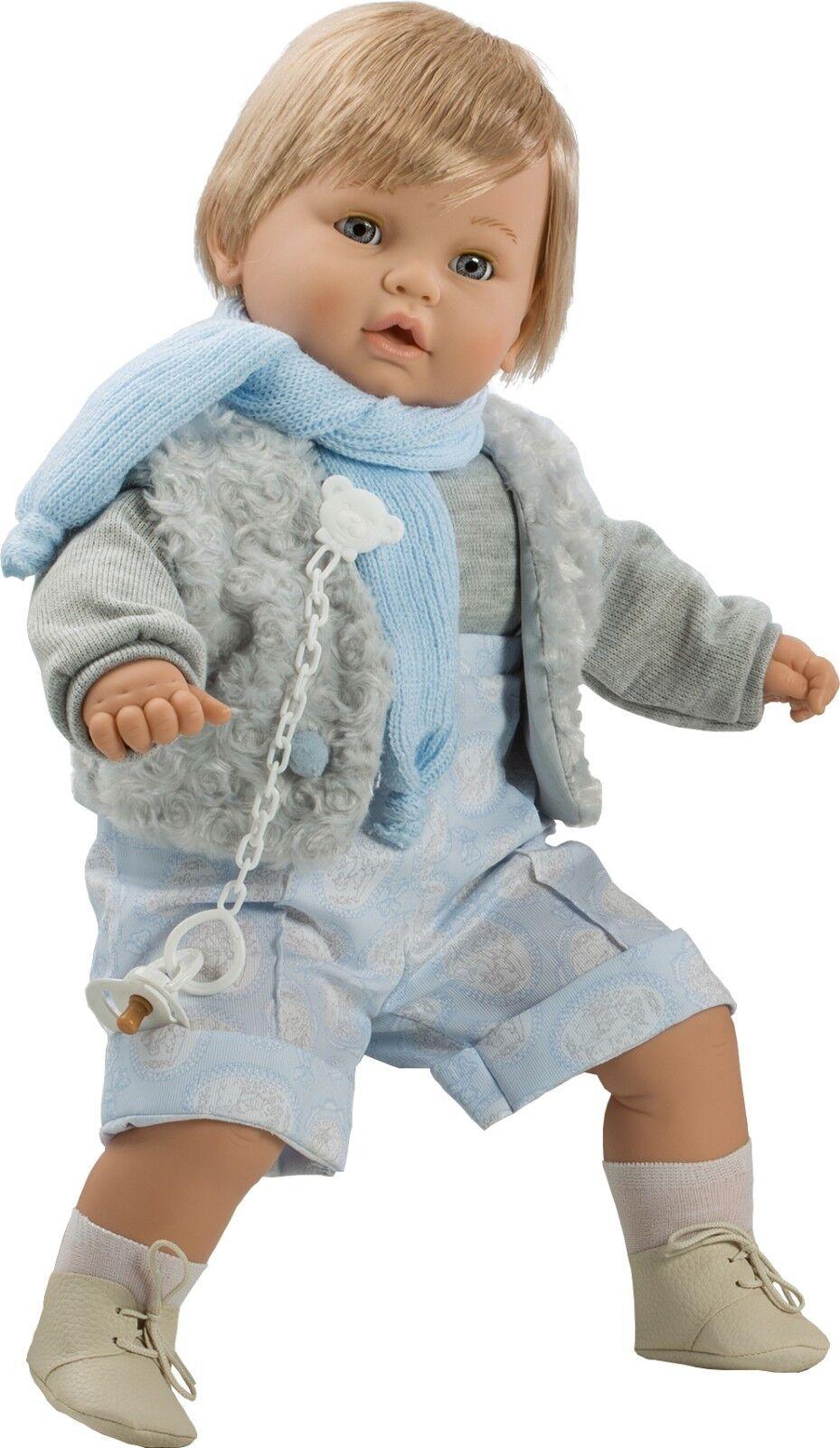 Berbesa - Dulzon muñeco bebé llorón chaleco grau 62 cm (80421)