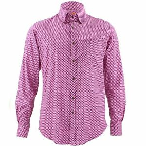 Stitching Tailored Funky Men's Pink Loud Psychedelic Fit Retro Shirt Party xwZAzYRZqB