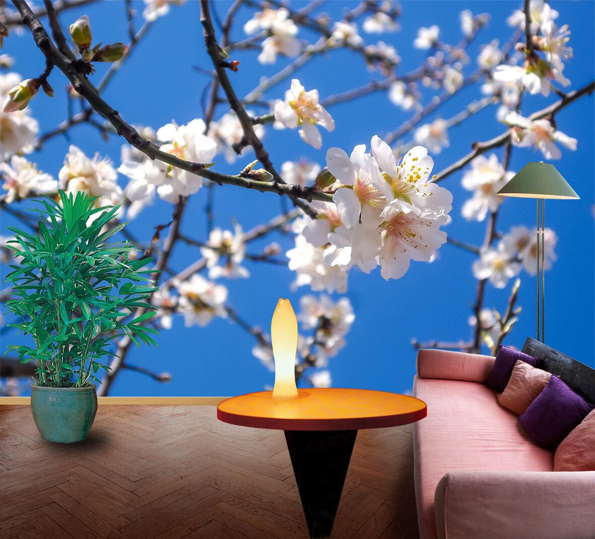 3D Fleurs Poirier 2 Photo Papier Peint en Autocollant Murale Plafond Chambre Art