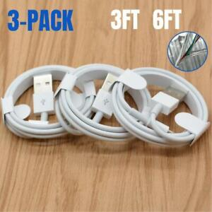 3Pack USB Fast Charging Cable 6Ft 3Ft For iPhone 11 8 7 6 Plus XR X Charger Cord