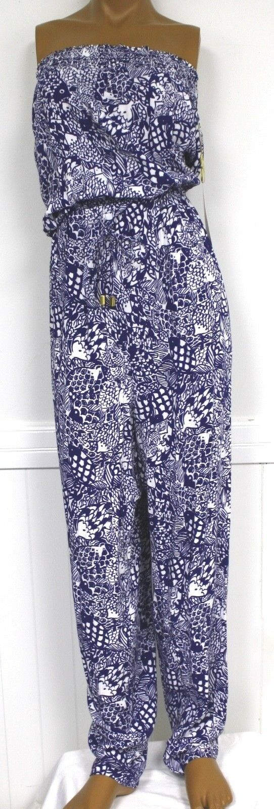 Lilly Pulitzer Jumpsuit Strapless bluee Fish Upstream XXL One Piece NWTS Target