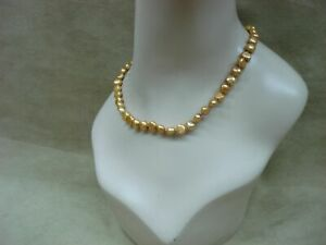 BEAUTIFUL-STERLING-SILVER-GOLDEN-FRESHWATER-BAROQUE-PEARL-CHOKER-NECKLACE