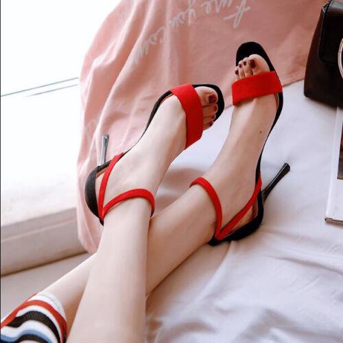Sandali Pelle Simil 9301 Nero Eleganti Cm Stiletto 11 Rosso pxagpqAT