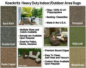 Heavy Duty Indoor Outdoor Area Rugs Runners Patios Decks Gazebos
