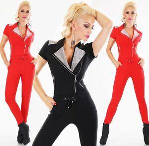 Women-039-s-Black-Jumpsuit-One-Piece-Studded-Collar-Pantsuit-with-zips-Rhinestone