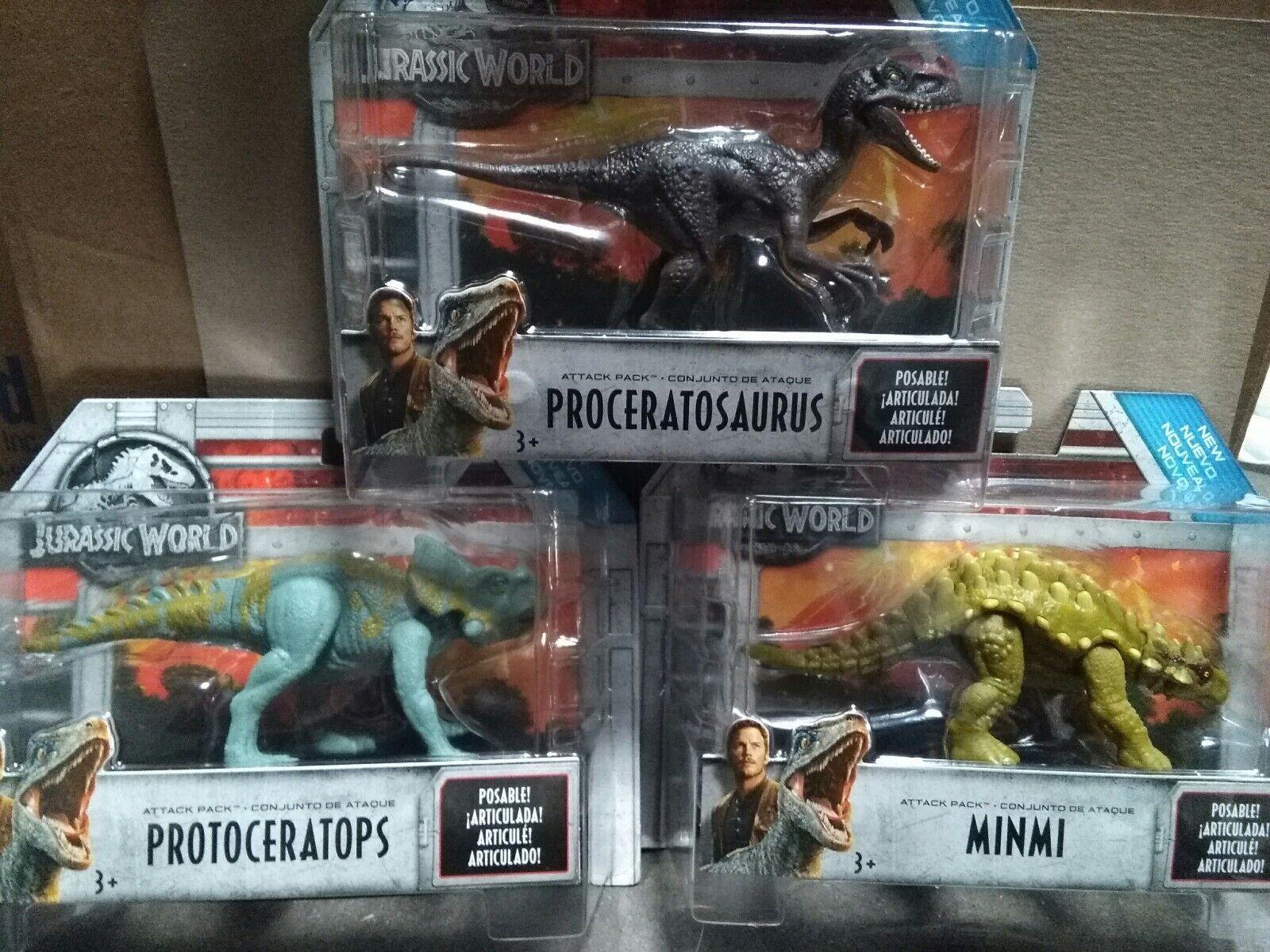 Jurassic World ataque Pack Onda 2 Set Proceratosaurus, MINMI, Prossooceratops