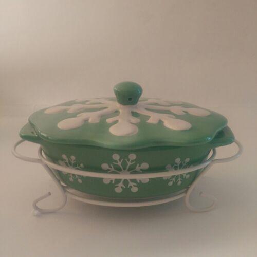 Temp-tations Snowflake Green Mini Covered Casserole Dish w// Rack 9 oz
