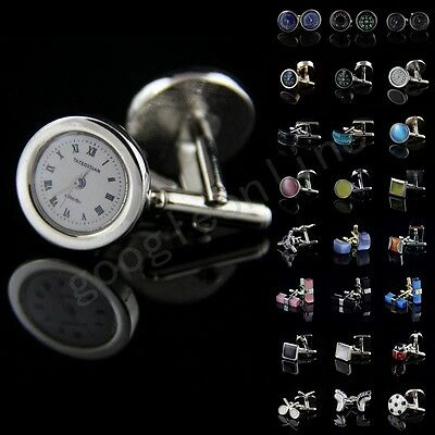 Lot Vintage Mens Stainless Steel Wedding Party Business Silver Agate Cufflinks S