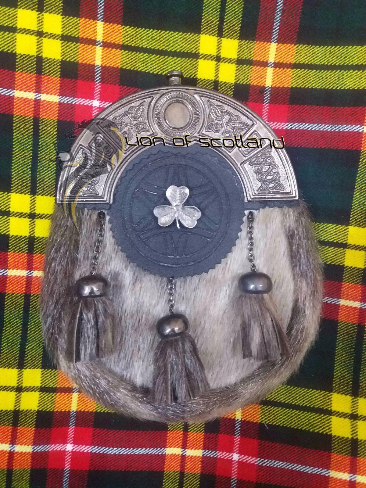 ScottishDress Black Leather Kilt Sporran Seal Skin Celtic Antique Irish Shamrock