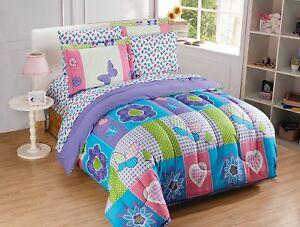Fancy Linen 7pc Full Size Comforter Set Eiffel Tower Paris Hearts Pink Grey New