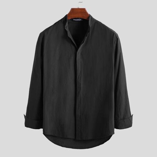 Men/'s Long Sleeve Linen Shirt Collarless V neck Causal Holiday Tee Tops Summer