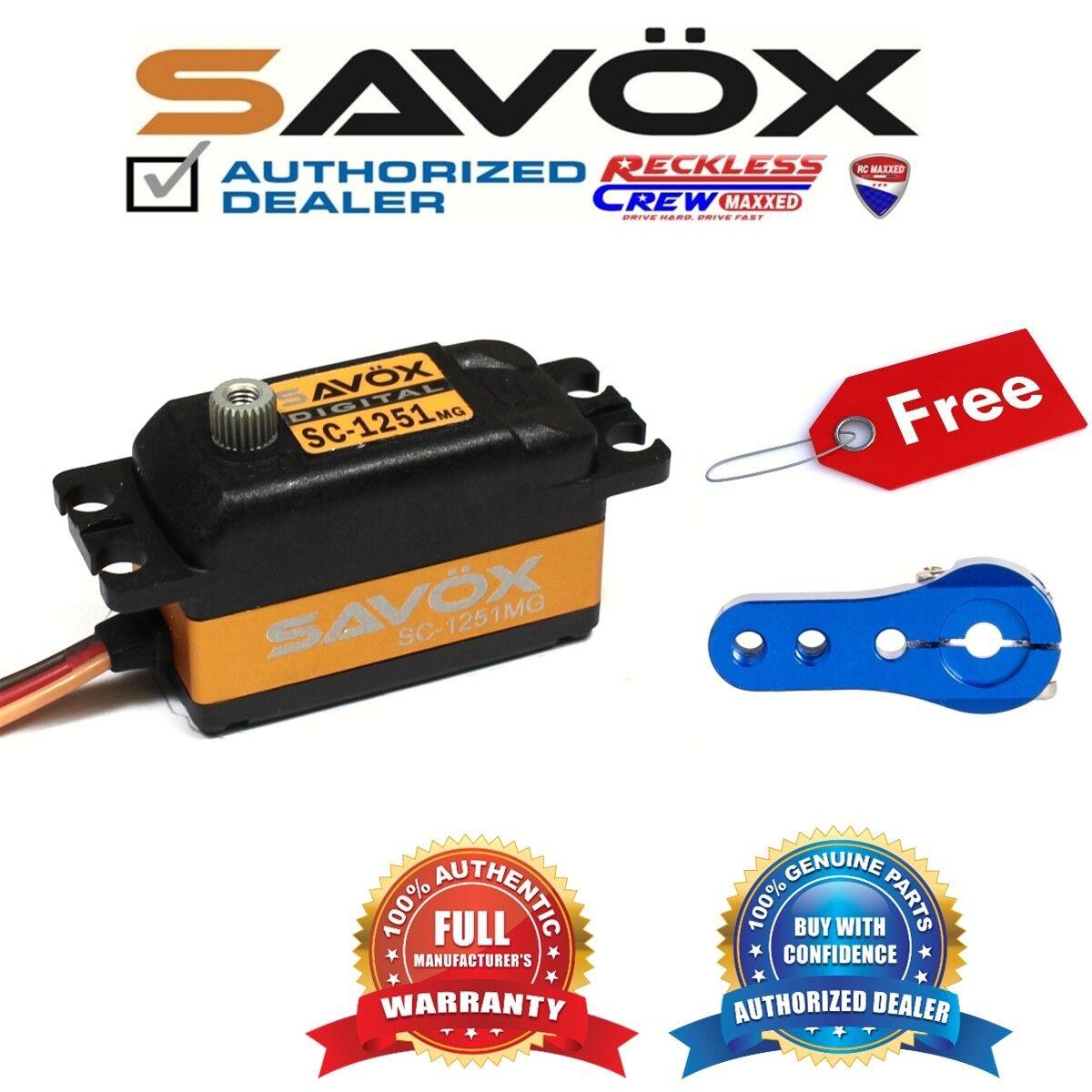 marchio famoso Savox SC-1251MG High Speed Low Profile Servo + gratuito gratuito gratuito Aluminium servo horn blu  acquista online oggi