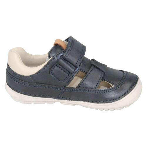 CLARKS Softly Ash Boys Navy Leather Summer First Shoe G Fit