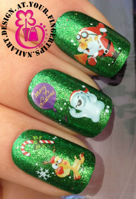 CHRISTMAS NAIL ART WATER DECALS TRANSFERS STICKERS SANTA RUDOLPH POLAR BEAR #805
