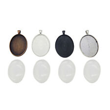 4 Sets Jewelry Alloy Mixed 40x30mm Oval Bezel Tray with Glass Pendants Charms