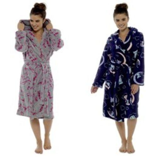 Womens Tom Franks Quality Fleece Hooded Novelty Bathrobe Dressing Gown S M L