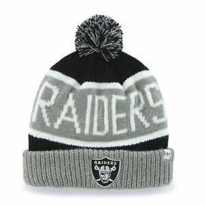 sale retailer 634c7 0bb7a Image is loading NFL-Oakland-Raiders-Embroidered-Jacquard-Cuff-Knit-Hat-