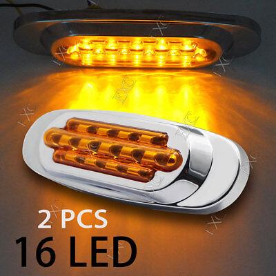 2x Sealed Amber 16 Diodes LED Side Marker Tail Light for Frieghtliner Kenworth