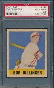 1948-Leaf-Baseball-Bob-Dillinger-SP-144-PSA-8-5-BROWNS-NM-MT-POP-1