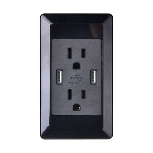 Dual-USB-Wall-Outlet-Charger-Port-Socket-with-15A-Electrical-Receptacles-Black