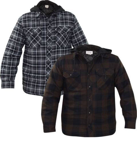 Mens Jackets Quilted Lined Check Print Padded Button Hooded Winter Coat Top