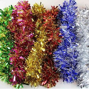 image is loading 5 x 2 tone thick luscious christmas tinsel - Red Green And Gold Christmas Tree Decorations