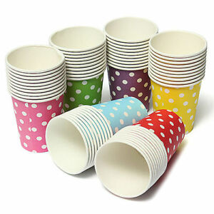 Image is loading 10-Pcs-Disposable-Colored-Polka-Dots-Paper-Cups-  sc 1 st  eBay & 10 Pcs Disposable Colored Polka Dots Paper Cups Wedding Party ...
