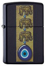 ZIPPO Feuerzeug EVIL EYE Dark blue matte Auge Elefant gegen bösen Blick NEU OVP