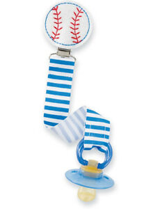 New-MUD-PIE-Baby-Boy-PACIFIER-PACY-CLIP-Embroidered-Felt-Ribbon-BASEBALL-SPORTS