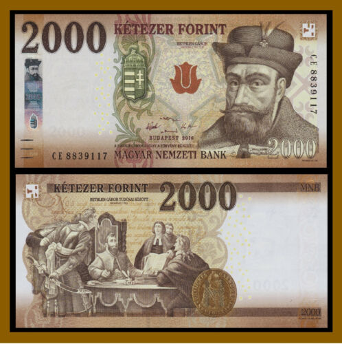 Hungary 2000 2016 P-204 New Design Unc 2,000 Forint