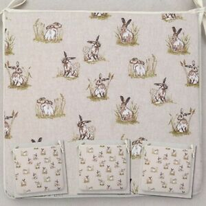 SET OF 4 COUNTRY HARES PRINT TIE ON CHAIR SEAT PADS For Seats Approx.14 Wide X 14 Deep