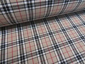 Tartan-Beige-Burberry-Look-Plaid-Check-Poly-Viscose-Fabric-150cm-Wide-Premium