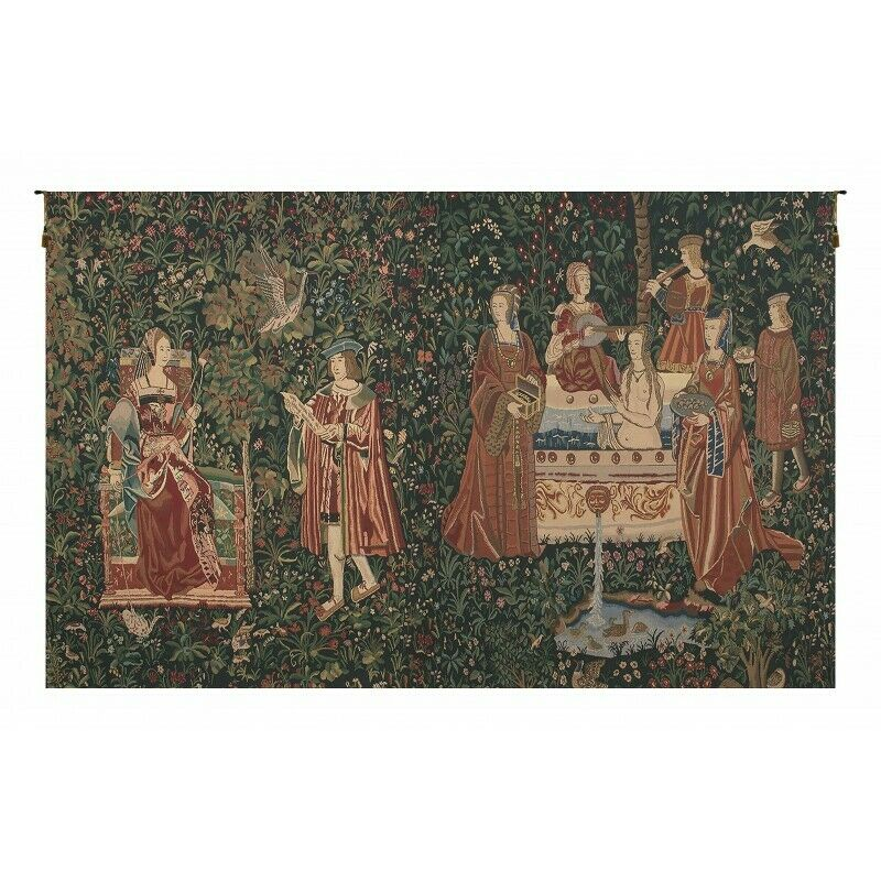 BATH AND READING IN THE GARDEN TAPESTRY  WALL HANGING H 69  x W 112