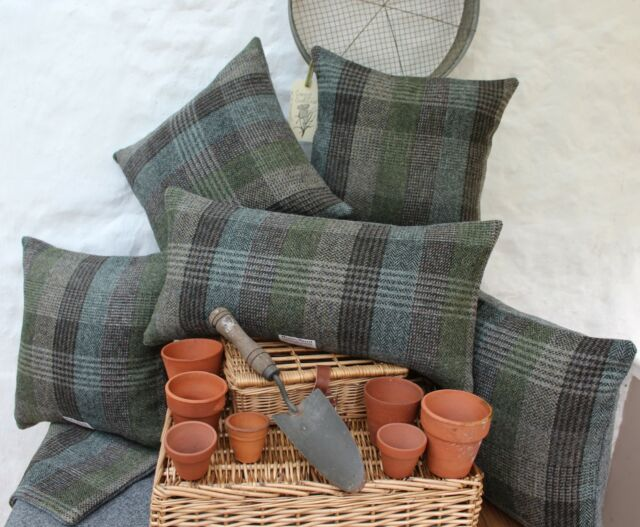 HARRIS TWEED Patchwork Country Cushion Cover with contrast GREY back option