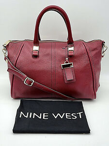 NINE-WEST-Gorgeous-034-Tribeca-034-Pebbled-Leather-Wine-Red-Satchel-Shoulder-Bag