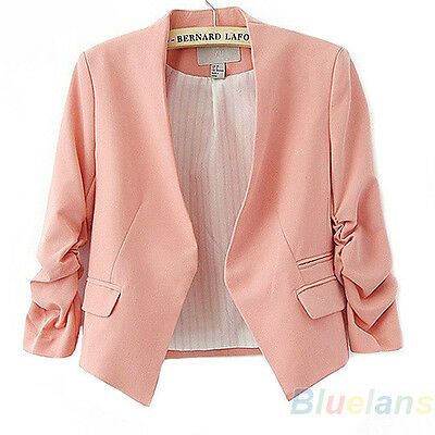 Fashion Womens Korea Style Candy Color Solid Slim Tops Blazer Coat Jacket B91U