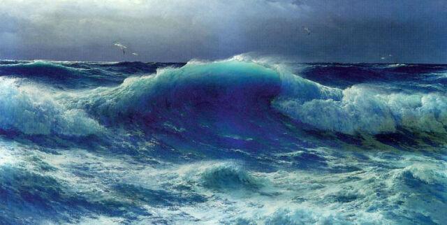 "Beautiful Oil painting seascape Atlantic Roll huge ocean waves canvas 36"""