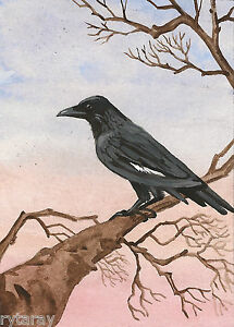 5x7-PRINT-OF-PAINTING-RYTA-COLLECTIBLE-RAVEN-CROW-LANDSCAPE-ART-GOTHIC-SUNSET
