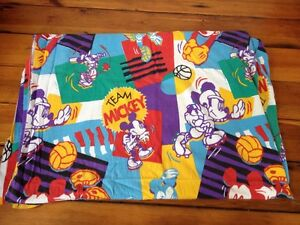 Vtg 90s Team Mickey Mouse Disney Colorful Twin Flannel 100% Cotton Flat Sheet