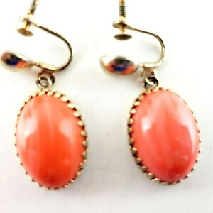 Screw Back Earrings Oval Orange Agate White Thin Marks Gold Trim Rim Dangle Drop