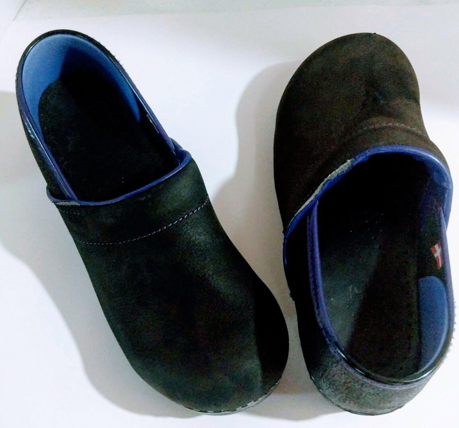 SANITA Dark Blue Leather Professional Clogs Size 40 US 9.5 *Flaws Read